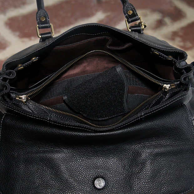 Aged Black Leather Satchel - Concealed Carrie