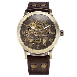 Skeleton Retro Men's Automatic Watch (extra replacement leather strap) - Desempa
