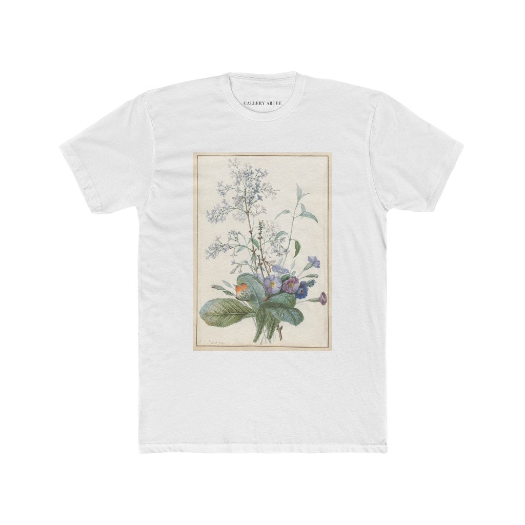 pierre joseph redoute art apparel, white t-shirt, white shirt