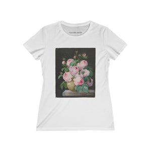 Pink Roses In A Vase | Women's Premium Cotton Tee