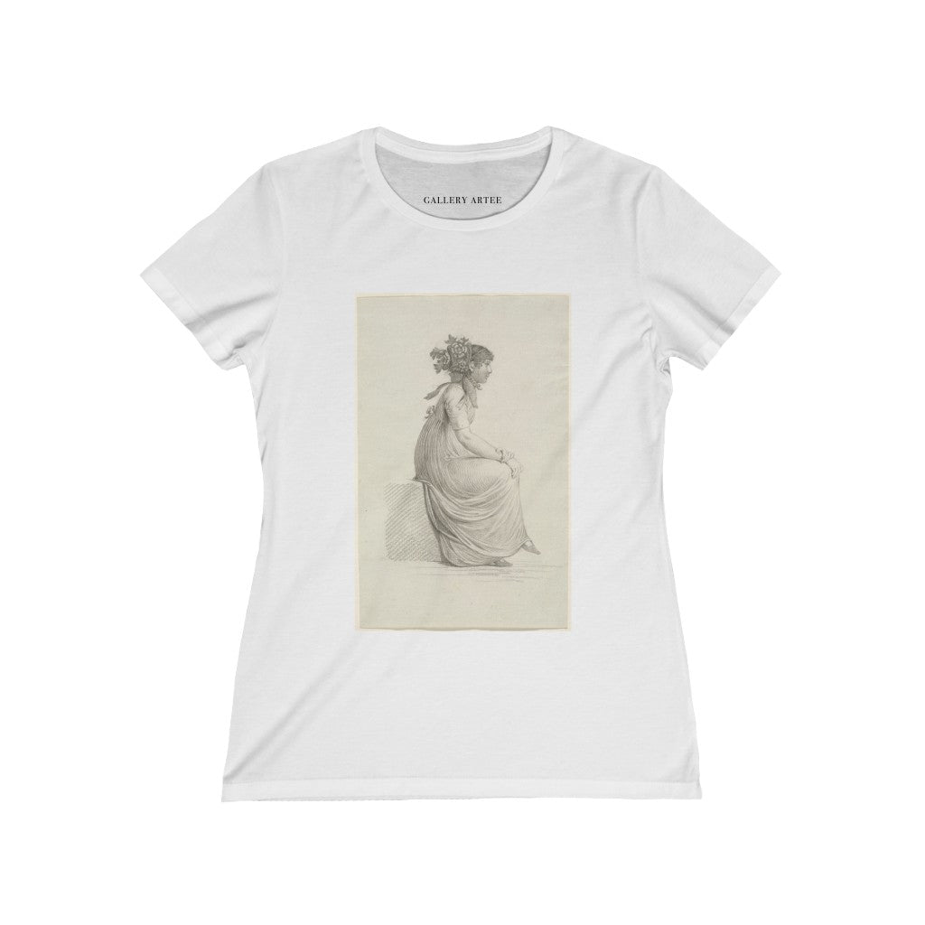 A Seated Young Woman Wearing a Fashionable Hat | Women's Soft Cotton Tee