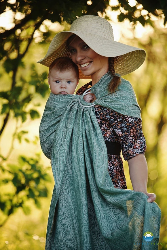 Little frog - Ring sling -GREEN LINEN HARMONY  2nd qualité -size M (lin)