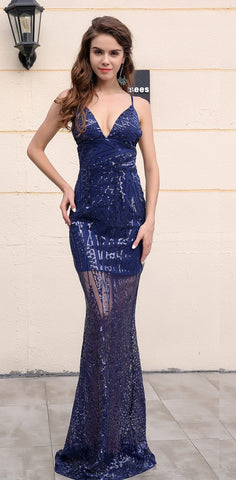 Evelyn Belluci - Navy Blue See Through Gown