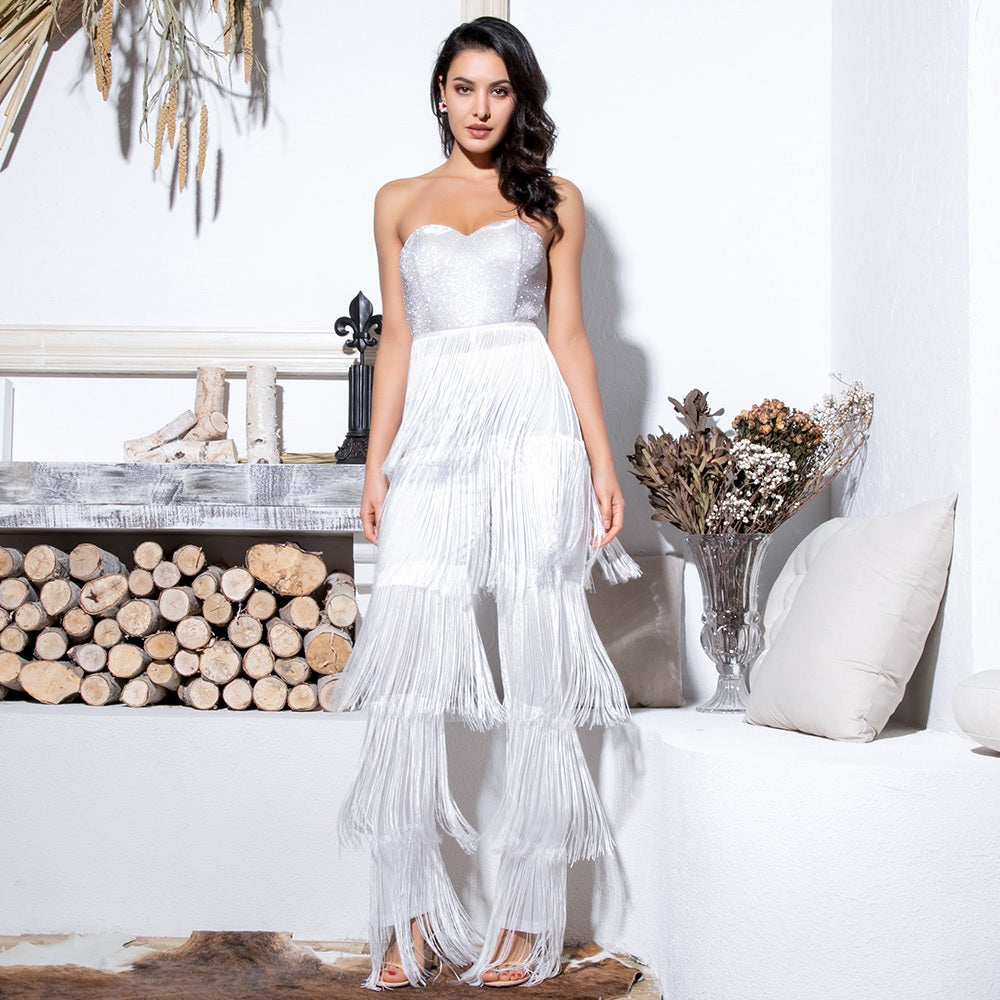Evelyn Belluci - White Fringe Tassel Jumpsuit