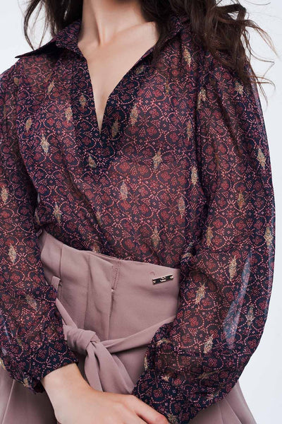 Q2 - Maroon Coloured Blouse With Golden Details