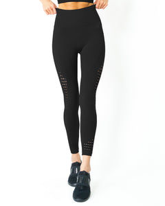RSP Fashion - Mesh Seamless Legging With Ribbing Detail - Black