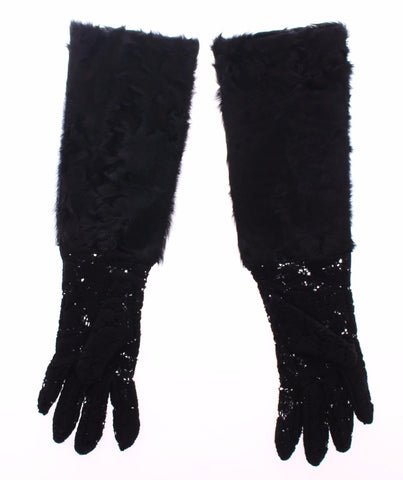 Black Lace Wool Lambskin Fur Elbow Gloves