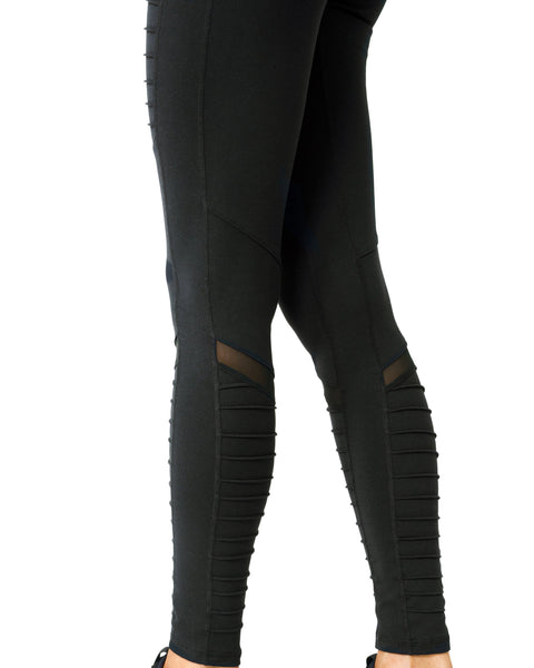 RSP Fashion - Athletique Low-Waist Ribbed Leggings w.Hidden Pocket and Mesh Panels - Black