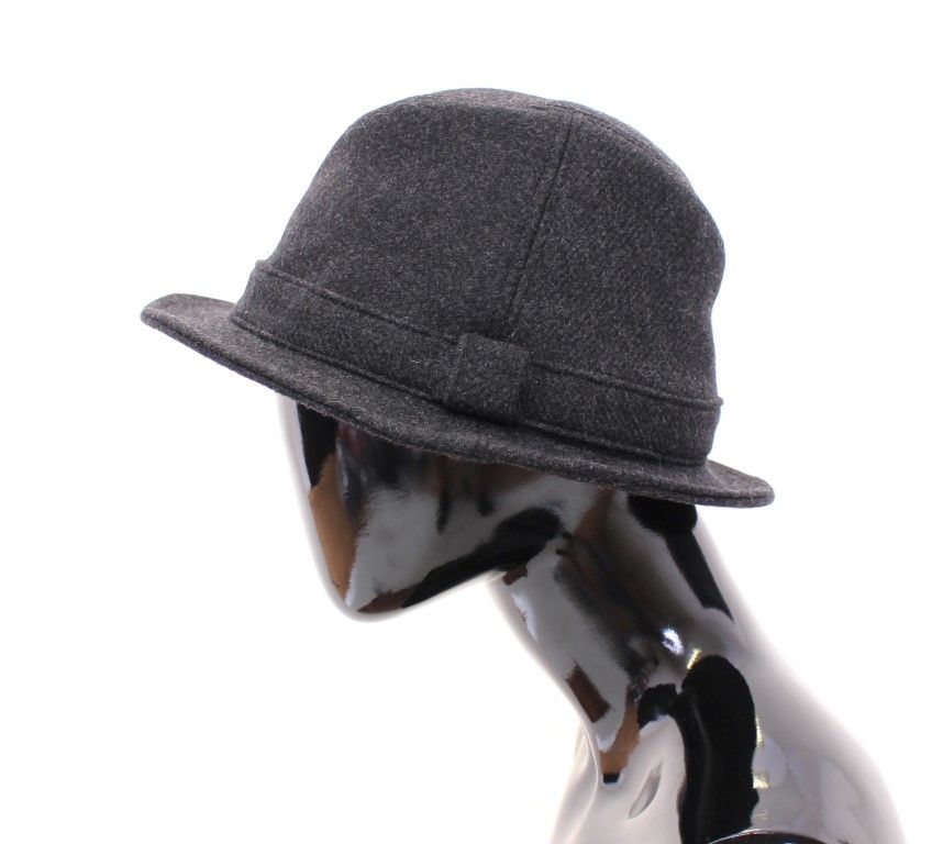 Gray Virgin Wool Logo Fedora Trilby Hat Cappelo