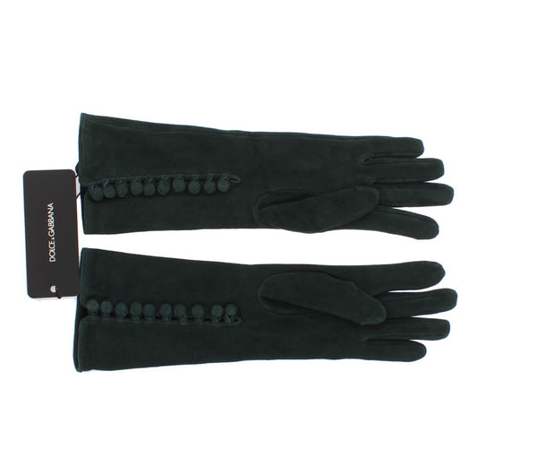 Green Suede Elbow Button Gloves