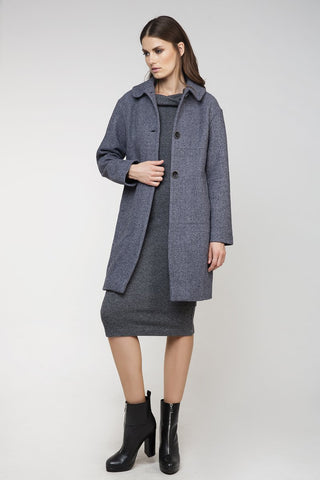 Conquista - Gray Wool Straight Coat