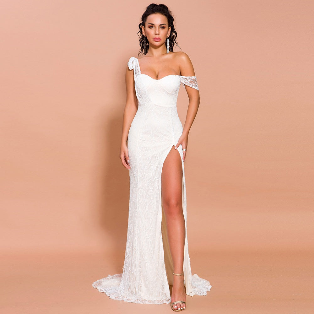 Evelyn Belluci - Vanessa Ivory Slit Gown