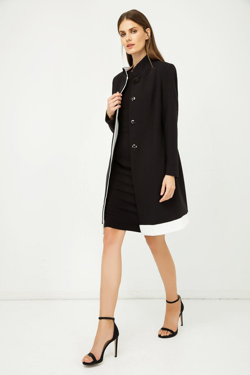 Conquista - Black Coat With Ecru Detail
