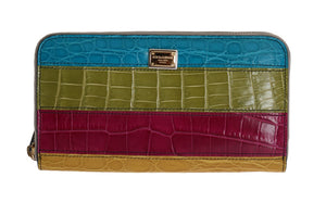 Multicolor Alligator Caiman Leather Continental Wallet