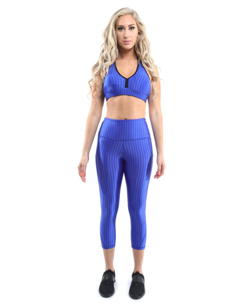 RSP Fashion - Firenze Activewear Capri Leggings - Blue [MADE IN ITALY] - Size Small