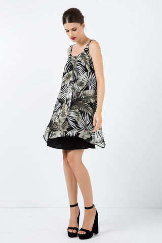 Conquista - Sleeveless Print Chiffon Dress With Layers