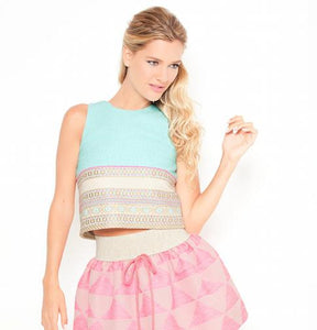Anamayadesign - Blue Wool Jersey & Pink Skirt