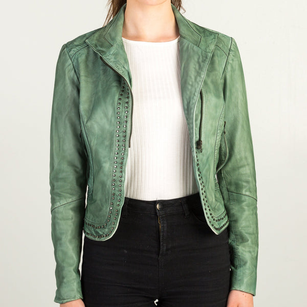 Sata Fashion - Green Leather Jacket