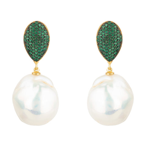Latelita - Baroque Pearl Classic Drop Earrings Emerald Green