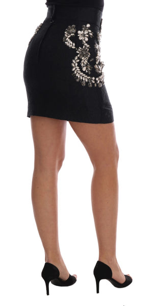 Black Brocade Crystal High Mini Skirt