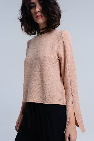 Q2 - Beige Ribbed Top With Splits