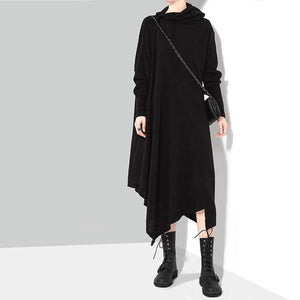 Marigold Shadows - Bonhoeffer Asymmetrical Scarf Dress - Black