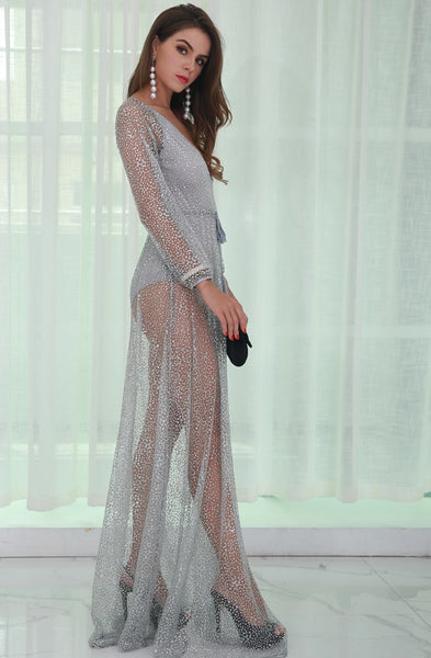 Evelyn Belluci - Silver Glitter Backless Dress