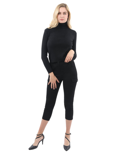 RSP Fashion - Roxbury Ribbed Turtleneck Sweater - Black