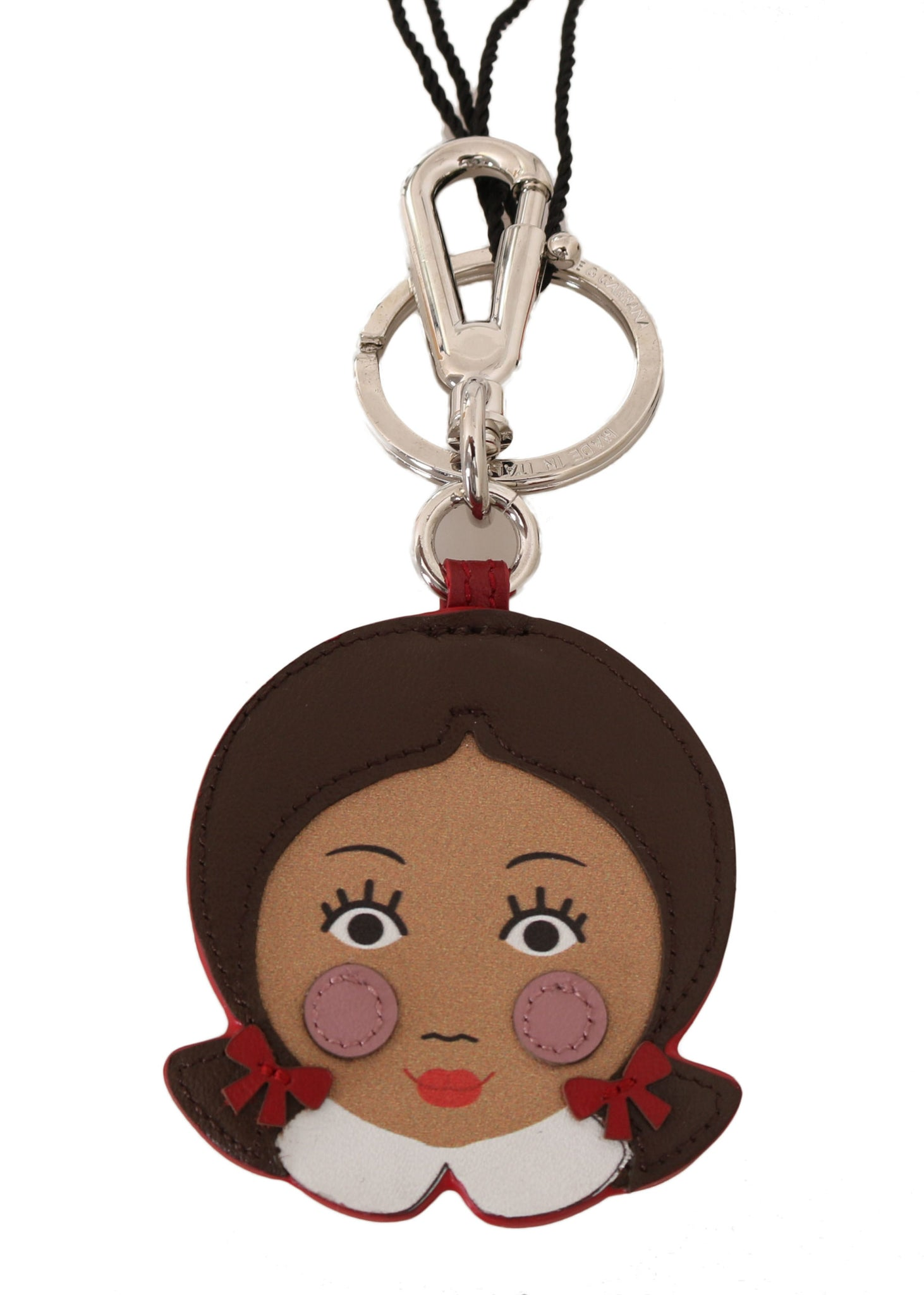Brown Doll Applique Clasp Keyring Leather Keychain