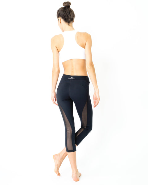 RSP Fashion - l'Espace Low-Waist Capri Leggings With Mesh Panels and Reflective Strips