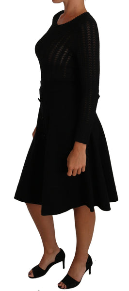 Black Knitted Wool Sheath Long Sleeves Dress