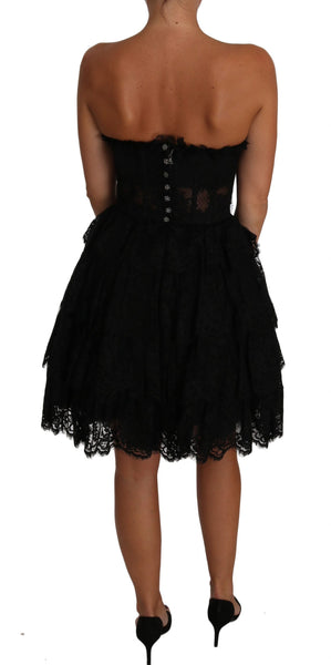 Black Floral Lace Ball Mini Ruffle Dress