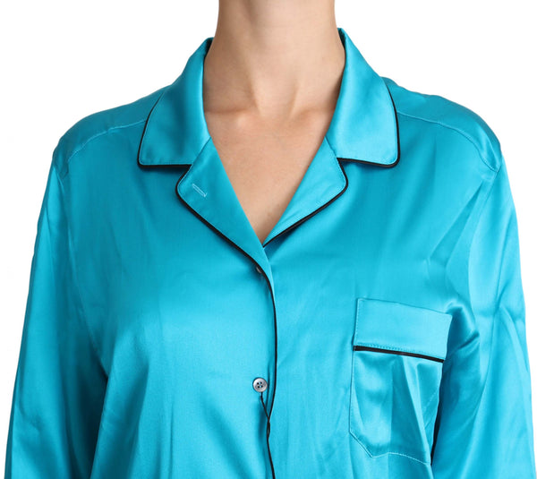 Blue Shirt Stretch Top Longsleeve Pyjama Blouse