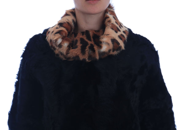 Black Lamb Leopard Print Fur Coat Jacket