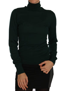 Green Cashmere Turtleneck Polo Neck Sweater