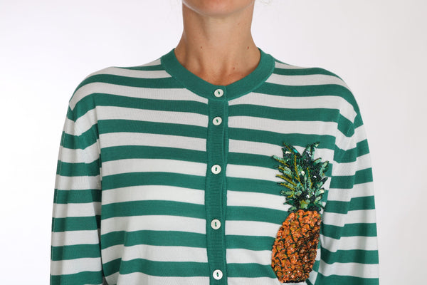 Pineapple Embellished Cardigan Striped Sweater