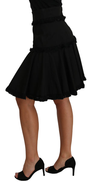 A-Line Black Fringes Pleated Skirt