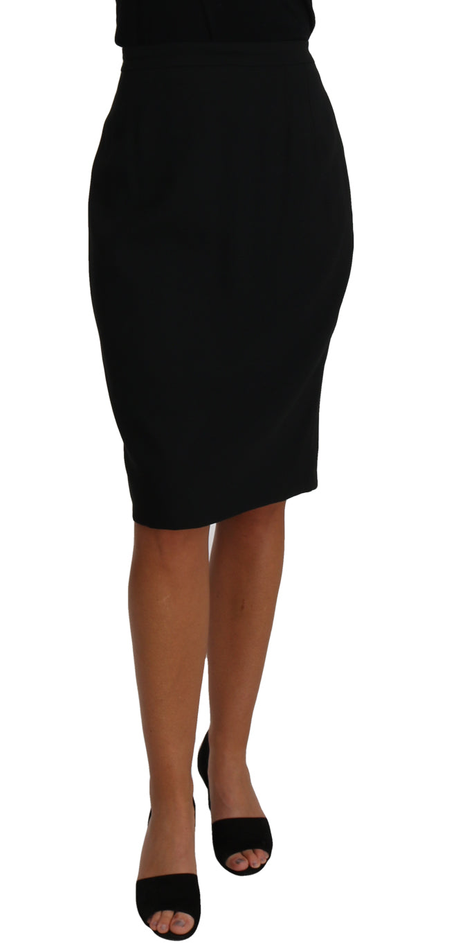 Black Knee Length A-Line Pencil Skirt