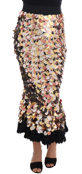 Gold Sequined Peplum High Waist Skirt