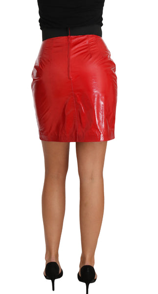 Red Patent Leather Mini A-line Short Skirt