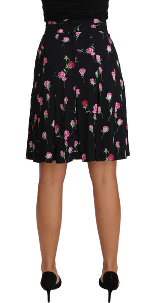 Black Rose Print Floral Knee Length Skirt
