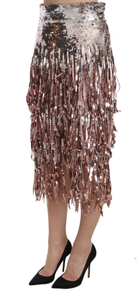Sequin Embellished Fringe Midi Pencil Skirt