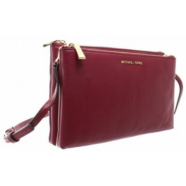 Adele Double Zip Maroon Red Pebbled Leather Crossbody Handbag