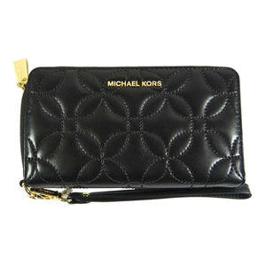 Quilted Black Flat MF Phone Case Leather Wristlet
