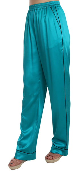 Aqua Blue Silk Stretch Trousers Pyjama Pants
