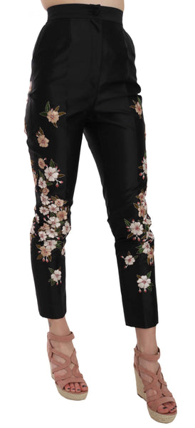 Black Silk Floral Embroidered Trousers Slim Pants