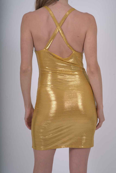 RSP Fashion - Ferrari Shiny Body-Con Gold Dress