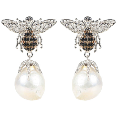 Latelita - Baroque Pearl Honey Bee  Drop Earring Silver