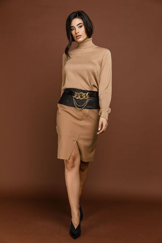 Conquista - Camel Striped Pencil Skirt by Si Fashion