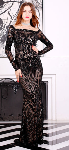 Evelyn Belluci - Black Sequin Evening Gown